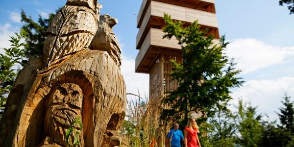 Holzskulptur und Aussichtsturm im G.E.R.A.Park