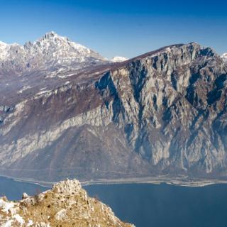 View over Lago di Lecco, and Monte Coltignone in the front