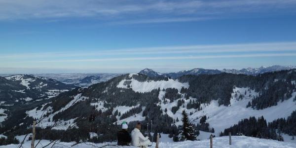 Am Gipfel des Großen Ochsenkopfes im Winter