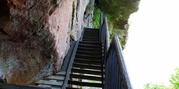 Treppe auf der Ruine der Falkenburg
