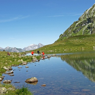 The lake Herzsee lies at the bottom of Hochjoch and is used as a water reservoir for the Wormser hut.