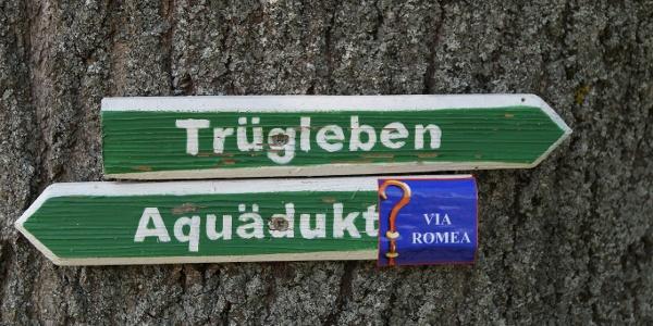 Wegmarkierung zwischen Sundhausen und Leina