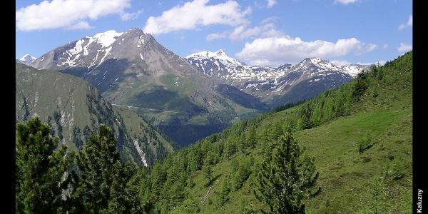 Blick Richtung Großglockner-Hochalpenstrasse, Höhenweg zur Elberfelder Hütte