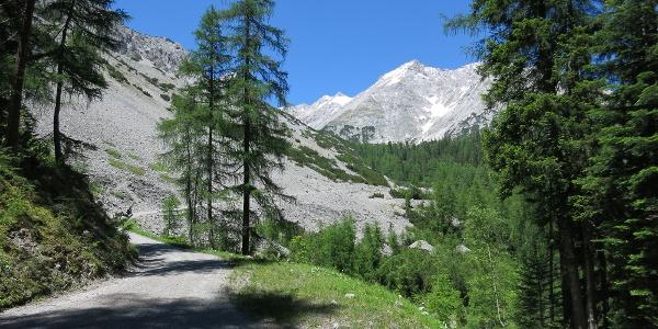 Nach Abstieg vom Thörl nach rechts über Schotterweg zum Issjoch