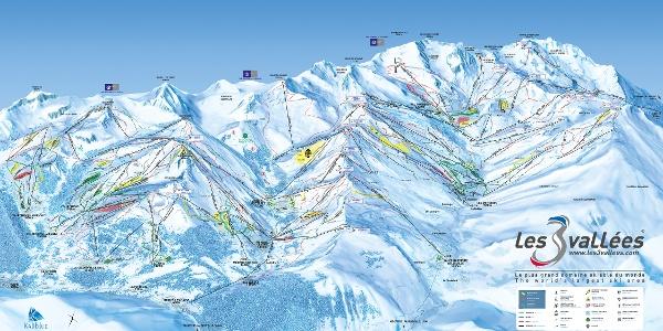 Der Pistenplan von Les Trois Vallées