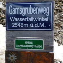 Am Wasserfallwinkel endet der Gamsgrubenweg.