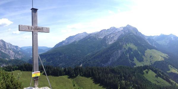 Gipfelblick, links Mühlsturzhörner, Bildmitte Hocheisgruppe, etwas rechts Kamerlingalm und darüber das Seehorn, rechts Hochkranz