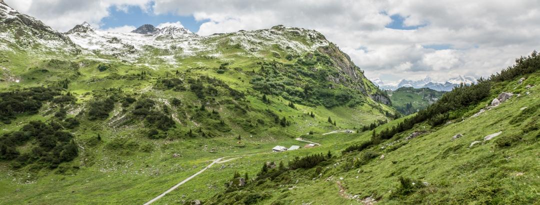 Blick vom Johannesjoch zur Alpe Formarin