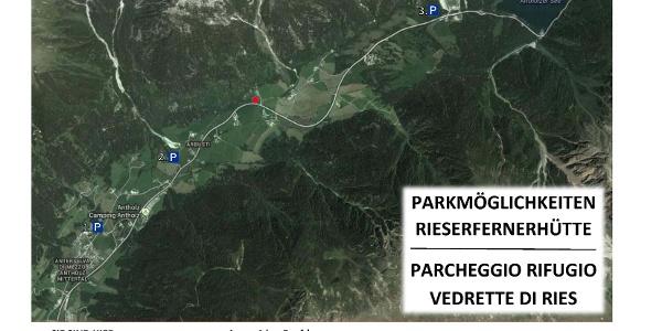 offizielle Parkplätze für die Rieserfernerhütte