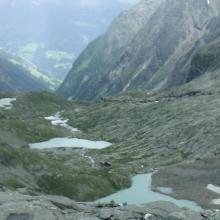 Uitzicht over Gradental en Adolf Nossberger Hütte vanaf Niedere Gradenscharte