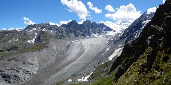 Blick vom Col des Avouillons auf den Gletscher Corbassière