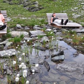 Rast am Alpinstrand des Lamnitzsees.