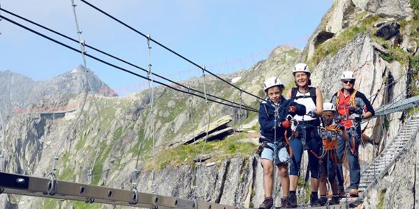 Suspension bridge at the Eggishorn via ferrata