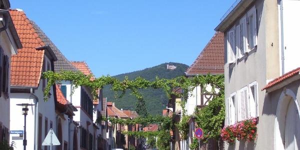 Theresienstraße in Rhodt, mit Blick auf die Rietburg