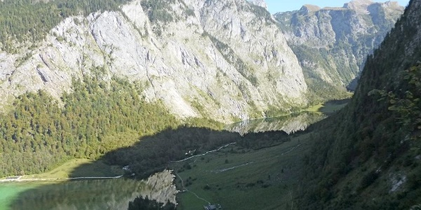 Blick vom Sagerecksteig zurück zur Saletalm und Obersee