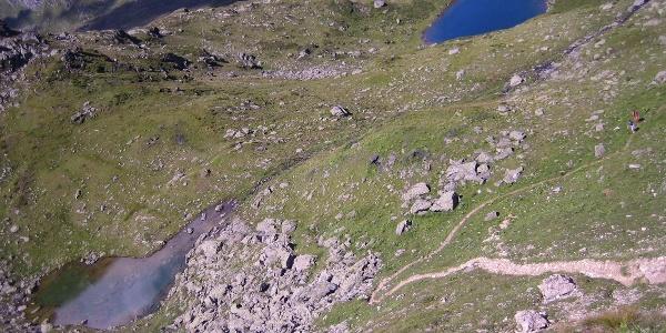 Blick von der Mölser Scharte auf den Möls See