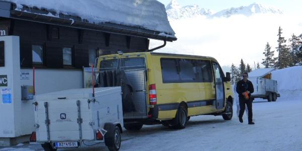Tunnelbus von der Bergstation Vermuntbahn zum Silvrettasee