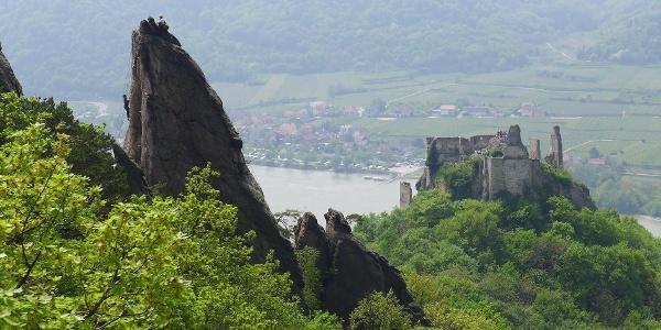 Kletterfelsen und Burgruine Dürnstein