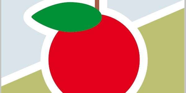 Der Apfel markiert die Premiumwege am Früchtetrauf