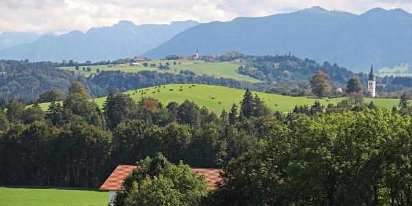 Blick Richtung Alpen, bei Rottenbuch