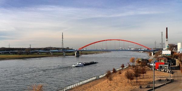 RheinPark mit Blick auf die Brücke der Solidarität