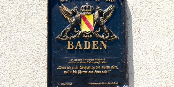 Erinnerung an den Besuch des Großherzogs von Baden