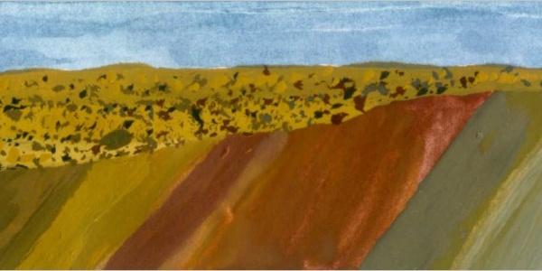 Geo-logik: Nur weil die alten Gesteinsschichten schräg standen, konnte das Meer deren Verwitterungsreste im Tertiär zu dem hier sichtbaren Mergel vermischen.