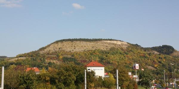 Blick von der Eisenbahnbrücke in Burgau auf den Johannisberg