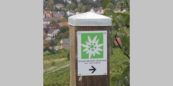 Markierung des Weges: stilisiertes weißes Edelweiß auf grünem Grund