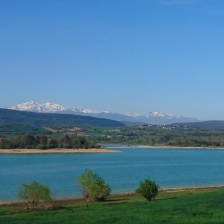Lac de Montbel and the Pyrenees