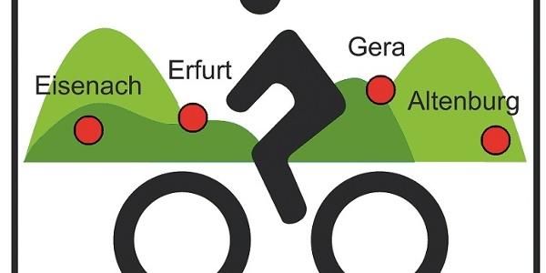 """Von Jena bis Weimar folgen wir dem Logo der """"Thüringer Städtekette""""."""