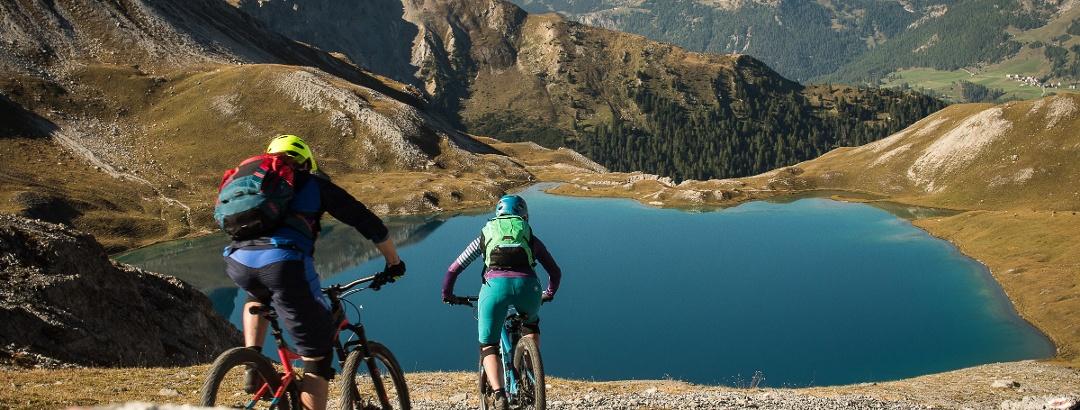 Mountainbiker auf dem Weg zum Piz Umbrail