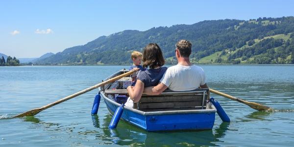 Boat trip at lake Großer Alpsee