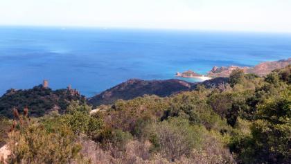 Blick vom Is Seddas zur Spiaggia di Su Sirboni und Capo S´Asta