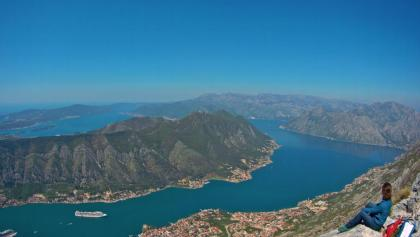 Spectacular panorama from the summit over the bay of Kotor and the Adriatic Sea