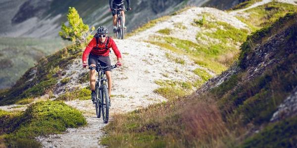 Biker auf der Val d'Anniviers Planet Tour