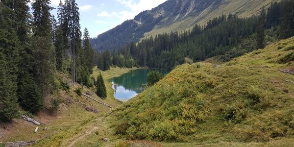 Der See aus der Höhe betrachtet