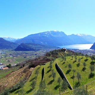 The agricultural terraces in Tenno, lake Garda in the background