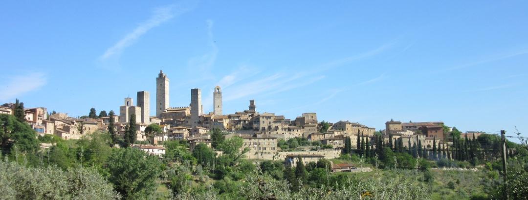 Uitzicht bij het verlaten van San Gimignano