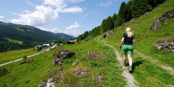 Auf einem Wiesenweg geht es durch das Balderschwanger Tal.