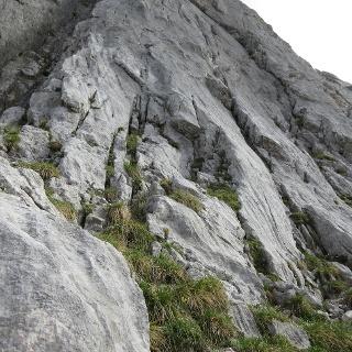 Einstieg zur Klettertour Prechtig bei Klebehaken