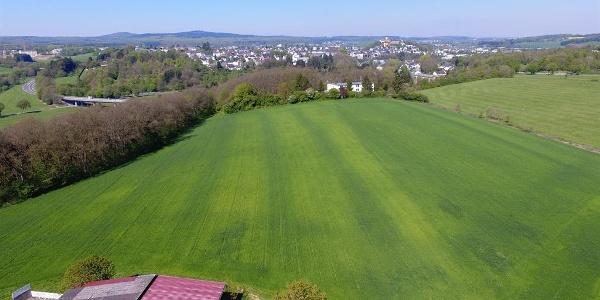 Luftaufnahme Feld und Schloss