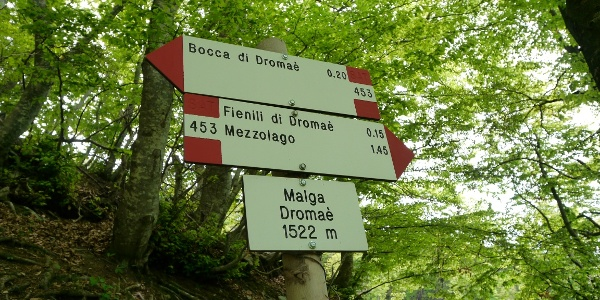 Wegweiser an der Malga Dromaè