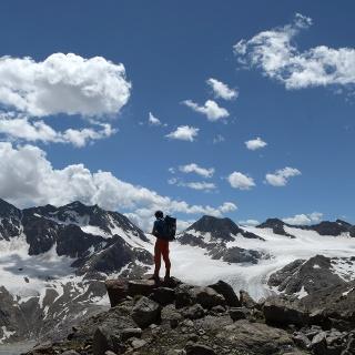 Abstieg von der Rotgratscharte mit Blick auf Übeltalferner
