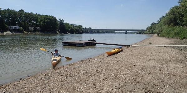 A Vidra csónakház stégje, háttérben a Megyeri híd