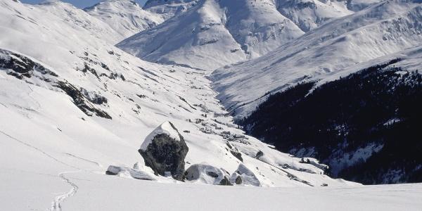 Blick ins Hochtal Avers Winter