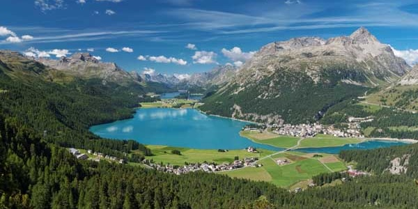 view of the Upper Engadin lake landscape