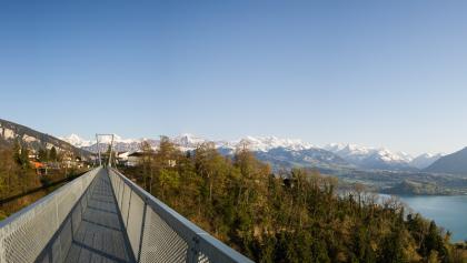 Blick auf See und Berge von der Panoramabrücke