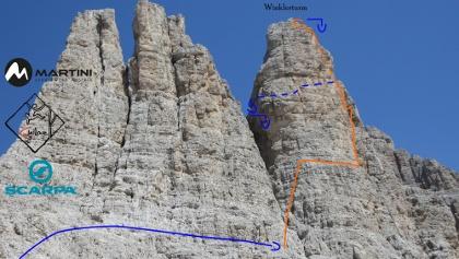 Winklerriss Übersichtsbild - Topo Klettertour auf den Winklerturm