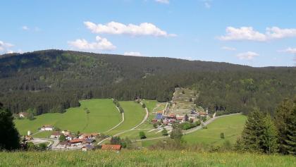 Blick nach Grün und zur Sommerrodelbahn vor Maibrunn